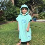 Hood Guise Kids hooded Beach towel dolphin mint green