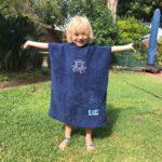 Hood Guise Kids hooded beach Towel Navy XS dolphin